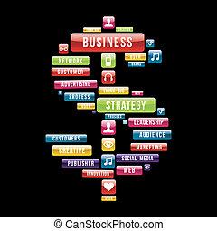 Signo de dinero de estrategia de negocios