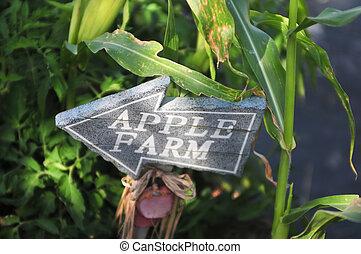 Signo de dirección de granja de manzanas