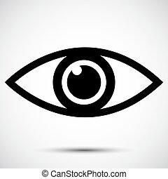 Signo de icono ocular aislado en el fondo blanco, ilustración vectorial