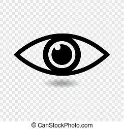 Signo de icono ocular aislado en el fondo transparente, ilustración vectorial