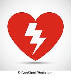 Signo de icono rojo del corazón Aed se aísla en el fondo blanco, ilustración vector EPS.10