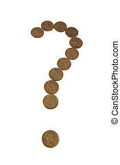 Signo de interrogación de monedas de oro en fondo blanco