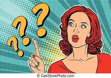Signo de interrogación, mujer pensante