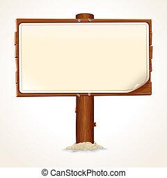 Signo de madera con papel de fondo blanco