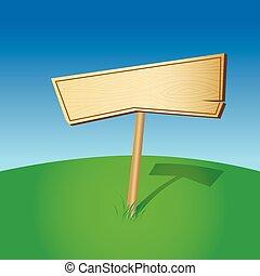 Signo de madera en blanco (vector)
