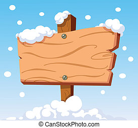 Signo de madera en la nieve