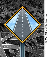 Signo de tráfico de solución