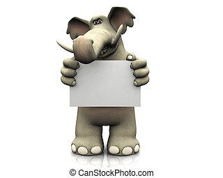 signo., elefante, caricatura, blanco