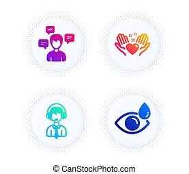 signo., gotas, corazón, ojo, apoyo, conversación, asimiento, vector, iconos, envío, set., mensajes