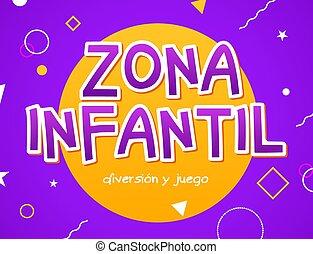 signo., infantil, zona, zona, patio de recreo, niñez, niños, diseño, habitación, área, niño, fondo., bandera, vector, juego, diversión, -