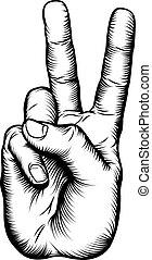 signo paz, victoria, v, mano, o, saludo