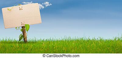 Signo verde, bandera horizontal, cielo azul