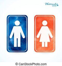 Signos: baño, vestuario, hombre, mujer, wc