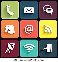Signos de comunicación modernos y iconos en Flat Design con sombras. Ilustración del vector