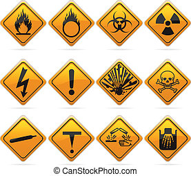 Signos de peligro de diamantes brillantes