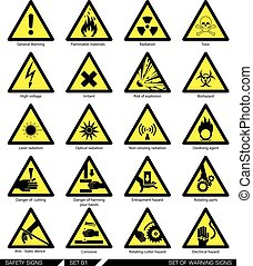 signs., conjunto, precaución, seguridad