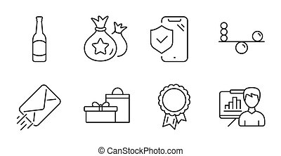 signs., e-mail, vector, cerveza, éxito, seguro, set., lealtad, puntos, presentación, teléfono, iconos, tabla