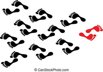 sigue, concepto, multitud, exposición, follows., huellas, huella, flujo, contra, individualidad, persona, mientras, determinado, negro, marea, manera, trayectoria, tomado, rebelión, líder, rojo