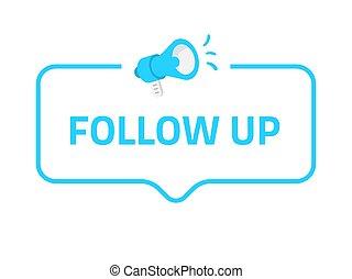 Sigue la placa, icono, logo. Concepto para las redes sociales.