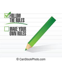 Sigue las reglas del control de la ilustración de aprobación