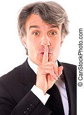Silencio de hombre de negocios