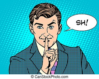 Silencio misterioso concepto de negocio secreto