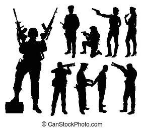 silhouett, militar, policía, soldado