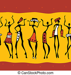 silhouette., africano, bailarines