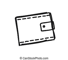 silhouette., blanco, billetera, fondo., vector