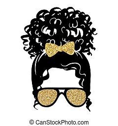 silhouette., bollo de pelo, desordenado, afro, vector, dorado, aviador, resplandor, hembra, hairstyle., rizado, anteojos, mujer, bow.