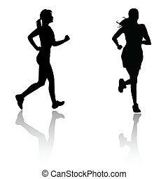 Silhouette corre mujer
