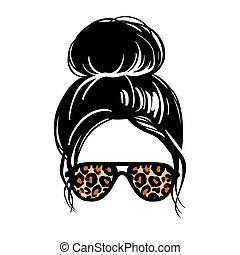 silhouette., leopardo, anteojos, bollo de pelo, desordenado, vector, aviador, hembra, hairstyle., print., mujer