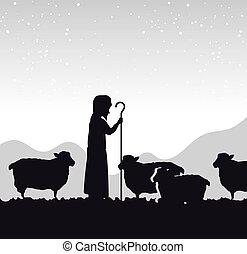 Silhouette pastor oveja pesebre diseño aislado