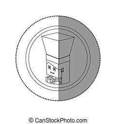 Silhouette sticker lego con retrato de mujer chef shading
