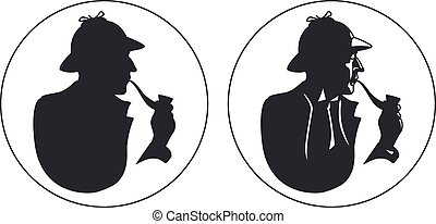 silhouette., tubo, detective, fumador, sherlock holmes