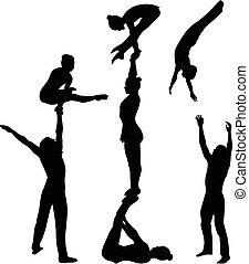 silhouette., vector, negro, acróbatas, gimnastas, stunt., acrobático