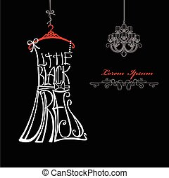 silhouette., vestido negro, poco, mujer, palabras, dress., araña de luces