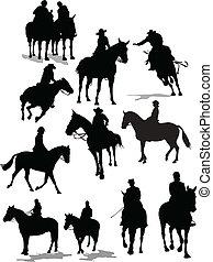 silhouettes., caballo, vector, jinete, ilustración