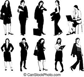 silhouettes., diseñadores, vector, empresarias, ilustración