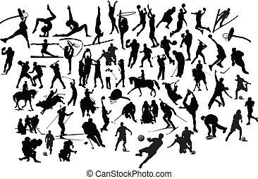 silhouettes., ilustración, vector, negro, colección, blanco, deporte