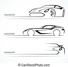 silhouettes., resumen, conjunto, lineal, coche