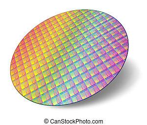 silicio, centros, procesador, oblea