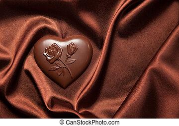 silk., flores, corazón, chocolates, patrón, marrón, formado