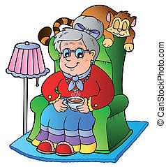 sillón, abuelita, caricatura, sentado