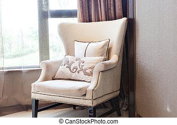 sillón, cierre, ventana