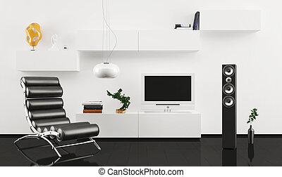 sillón cuero, diseño de interiores