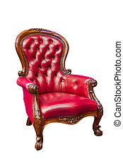 sillón cuero, lujo, rojo, aislado