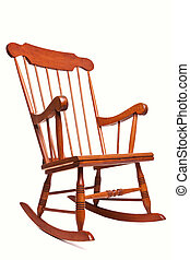 silla, blanco, mecedor, aislado, plano de fondo