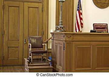 silla, courtroom, testigo, estante