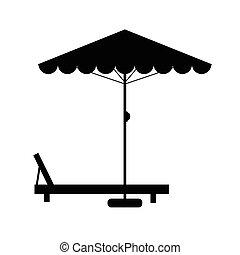 Silla de cubierta y ilustración de paraguas